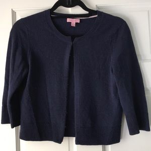 Lilly Pulitzer cropped cardigan Navy Cashmere